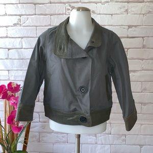 Mike & Chris Grey Canvas Jacket Leather Trim NWT